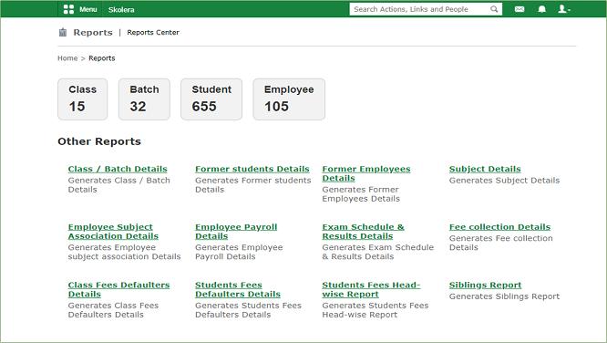 التقارير في المدرسة - نظام الإدارة المدرسية