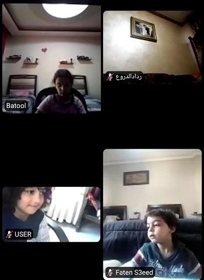 لقطة شاشة لطلاب أثناء الدراسة عن بعد
